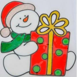 Наклейка Winter Wings Снеговик с подарком 21x16,5 см