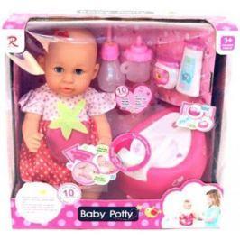 Пупс Shantou Gepai Baby Potty в красном платье 40 см писающая пьющая 8930