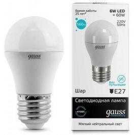 Лампа светодиодная шар Gauss E27 6W 4100K 53226