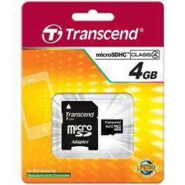 Карта памяти MicroSDHC 4GB Transcend Class4 (TS4GUSDHC4)