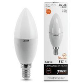 Лампа светодиодная свеча Gauss E14 6W 3000K 33116