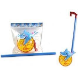 "Каталка на палочке S+S Toys ""Веселая акула"" желто-голубой от 1 года пластик"