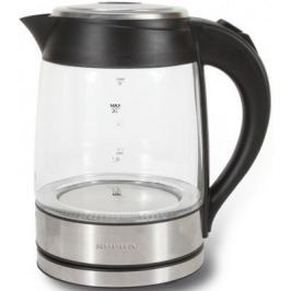 Чайник Supra KES-2005 2200 Вт серебристый чёрный 2 л металл/стекло