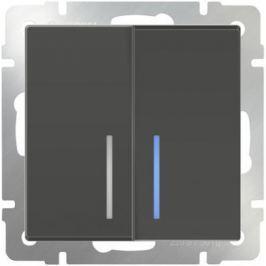 Выключатель двухклавишный с подсветкой серо-коричневый WL07-SW-2G-LED 4690389054037