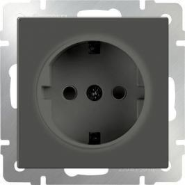 Розетка с заземлением и шторками серо-коричневая WL07-SKGS-01-IP44 4690389054068