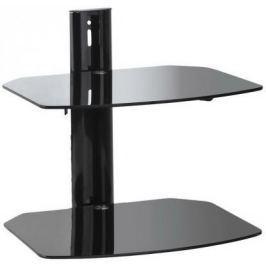 Кронштейн Kromax R-DUO черный настенный от стены 298мм закаленное стекло 8мм 2 полки до 16 кг для A/V систем