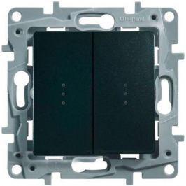 Переключатель Legrand ETIKA 10AX двухклавишный с подсветкой антрацит 672616