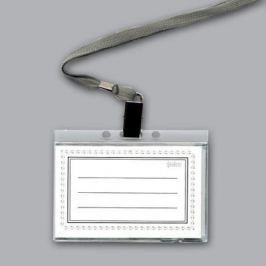 Бедж прочный горизонтальный, прозрачный на текстильном шнуре INB16