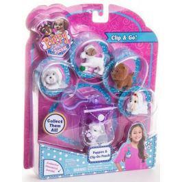 """Игровой набор Just Play """"Puppy in my Pocket"""" - Брелок-сумочка со щенками 6 предметов фиолетовый"""
