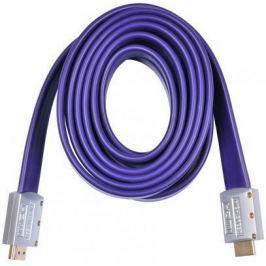 Кабель HDMI 3.0м Buro плоский синий HDMI19M-19M FLAT3