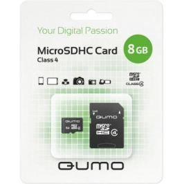 Карта памяти Micro SDHC 8Gb class 4 QUMO QM8GMICSDHC4 + SD adapter