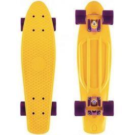 "Скейтборд Y-SCOO Fishskateboard Print 22"" RT винил 56,6х15 с сумкой YELLOW/dark purple 401-Y"
