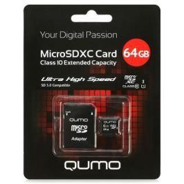 Карта памяти Micro SDXC 64Gb class 10 UHS-I QUMO QM64GMICSDXC10U1 + SD adapter