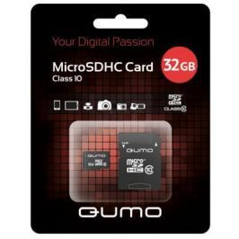 Карта памяти Micro SDHC 32Gb class 10 QUMO QM32(G)MICSDHC10 + SD adapter