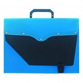 Папка-портфель без отделений, А4, синяя с черным клапаном IEF50/BU