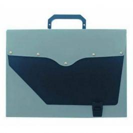 Папка-портфель без отделений, А4, серебряная с черным клапаном IEF50/SL