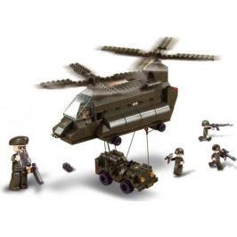 Конструктор SLUBAN Армия - Грузовой вертолет и джип 370 элементов M38-B6600