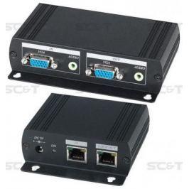 Комплект SC&T VE05AL передатчик VE05ALT+ приемник VE02ALR для усиления и каскадной передачи VGA-сигнала и стерео аудиосигнала до 300м
