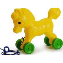 Каталка на шнурке Росигрушка Лошадка желтый от 1 года пластик 9107