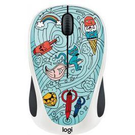 Мышь беспроводная Logitech M238 Doodle Collection синий рисунок USB 910-005055