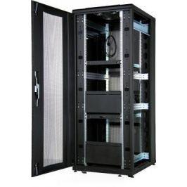 """Шкаф напольный 19"""" 36U Estap CloudMax CLD70636U6010BR1R1 600x1000mm передняя дверь двустворчатая перфорированная задняя дверь двустворчатая перфорированная черный"""
