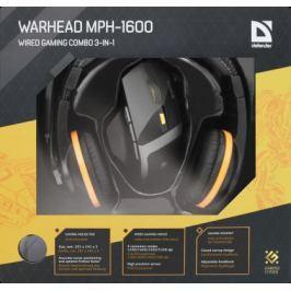 Комплект Defender Warhead MPH-1600 мышь+гарнитура+коврик чёрный USB 52706