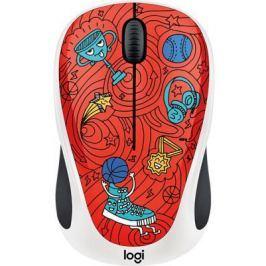 Мышь беспроводная Logitech M238 Doodle Collection красный рисунок USB 910-005054