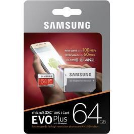 Карта памяти Micro SDXC 64Gb Class 10 Samsung EVO Plus V2 MB-MC64GA + SD adapter