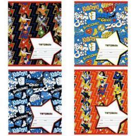 Тетрадь школьная Action! DC COMICS 12 листов линейка скрепка DC-AN 1201/1