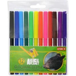 Набор фломастеров Action! Animal Planet 12 шт разноцветный AP-AWP129-12