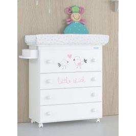 Комод пеленальный Micuna Little Chick (white-pink/матрасик hearts)