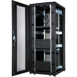 """Шкаф напольный 19"""" 42U Estap CloudMax CLD70642U8010BF1R1 800x1000mm передняя дверь одностворчатая перфорированная задняя дверь двустворчатая перфорированная черный"""