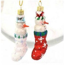 Елочные украшения Winter Wings Снеговички в сапожках разноцветный 10 см 2 шт стекло N07845