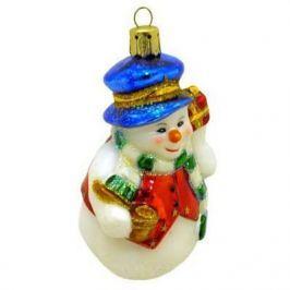 Украшение Winter Wings Снеговик в синей шапке 9 см 1 шт стекло N07119