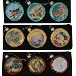 Елочные украшения Winter Wings ДИСК ОТКРЫТКИ разноцветный 7 см 3 шт стекло ассортимент N07747