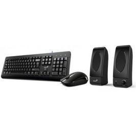 Комплект Genius KMS U130 черный USB клавиатура + мышь + колонки