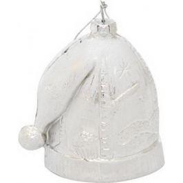 Елочные украшения Winter Wings Шапка новогодняя зимние узоры белый 8 см 1 шт пластик