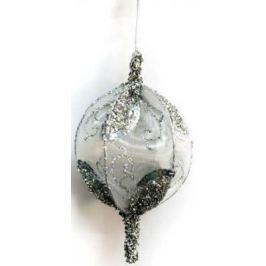 Елочные украшения Winter Wings Шар серебряный с блестками белый 13 см 1 шт полимер N069840/13/БЕЛ