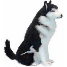 """Мягкая игрушка собака Hansa """"Хаски сидящая"""" текстиль черный белый 37 см"""