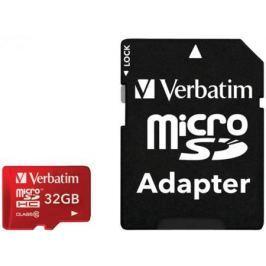 Карта памяти Micro SDHC 32GB Class 10 Verbatim 44044 + адаптер красный