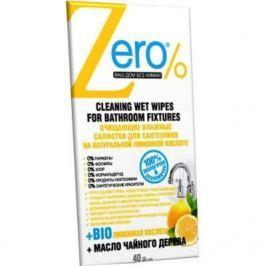Салфетки влажные Zero для сантехники антибактериальные 40 шт