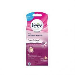 VEET Восковые полоски для чувствительных участков тела лицо с ароматом бархатной розы и эфирными маслами Easy Gel-wax 20 шт