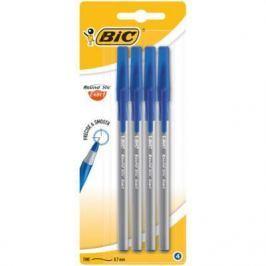 BIC Ручка Раунд Стик Экзакт тонкая линия синяя блистер 4 штуки