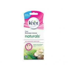 VEET Восковые полоски c маслом ши для чувствительных участков тела лицо серии Naturals Easy Gel-wax 20 шт