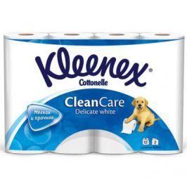 Бумага туалетная Kleenex Clean Care Delicate white 2-ух слойная растворяются в воде 12 шт 9450012