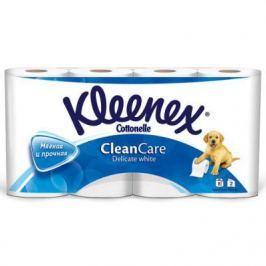 Бумага туалетная Kleenex Clean Care Delicate white 2-ух слойная растворяются в воде 8 шт 9450008