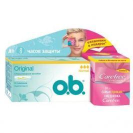 o.b. Тампоны Original нормал 16шт Carefree Салфетки Супертонкие Fresh scent ароматизированные в индивидуальной упаковке 20 шт