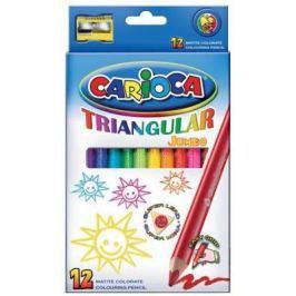 Набор карандашей цветных CARIOCA TRIANGULAR JUMBO, 12 цв., трехгранные, в карт. коробке