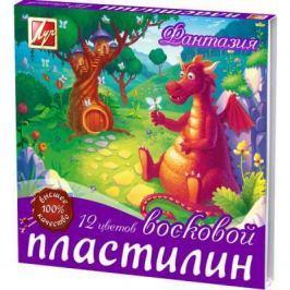 Пластилин ФАНТАЗИЯ, восковой 12 цв, в карт. уп.