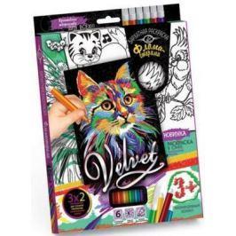 Набор креативного тв-ва Бархатная раскраска фломастерами VELVET Кошечка